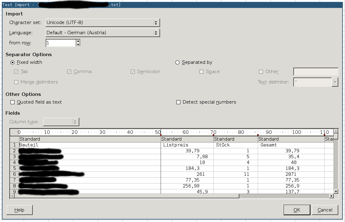The import screen of LibreOffice.